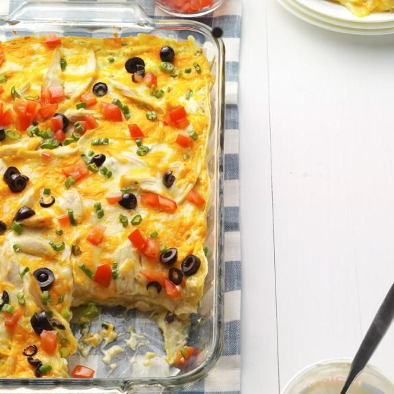 Chicken Enchilada Casserole Recipe -My brother brought this recipe home from Scout camp when he was young, and it quickly became a family favorite. Now that my five siblings and I live away from home, we often make this dish for ourselves. It's also one of Mom's go-to meals to prepare when we all get together. — Provided by Kristi Larson, Culinary Specialist, on behalf of Physicians Mutual Insurance