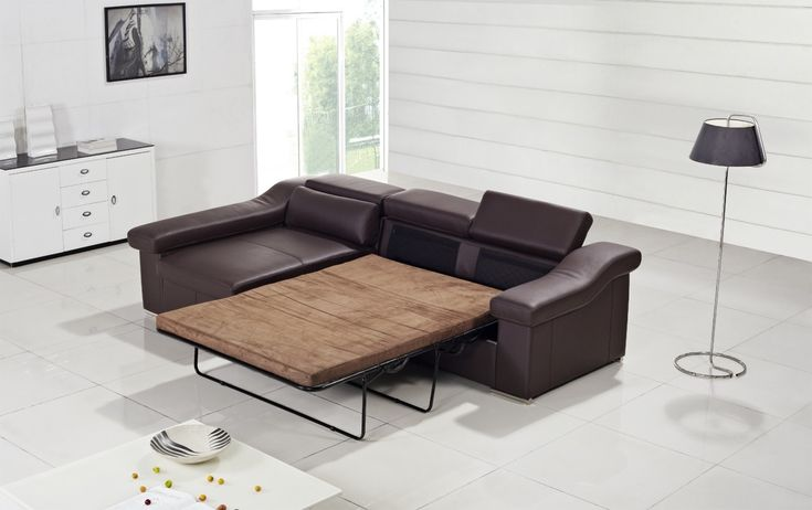 T136 Modern Brown Leather Sofa W Pull Out Sofa Bed