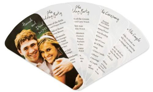 it's an event/wedding program, and it's a necessary fan for an outdoor event.  GREAT idea!!   Easy to do with just a brad at the bottom!