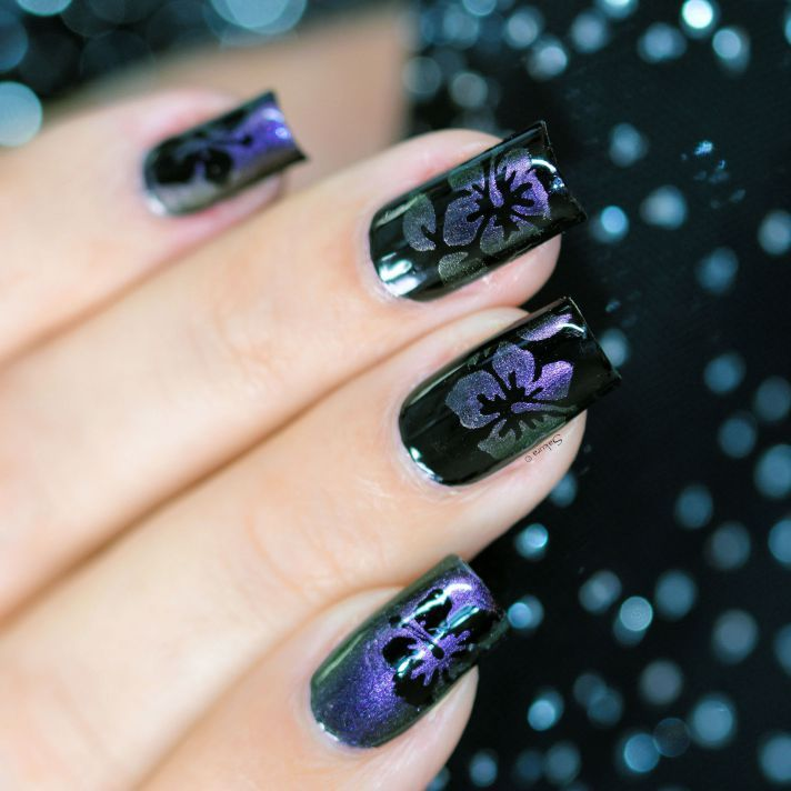 NAIL ART HIBISCUS CAMOUFLAGE 4