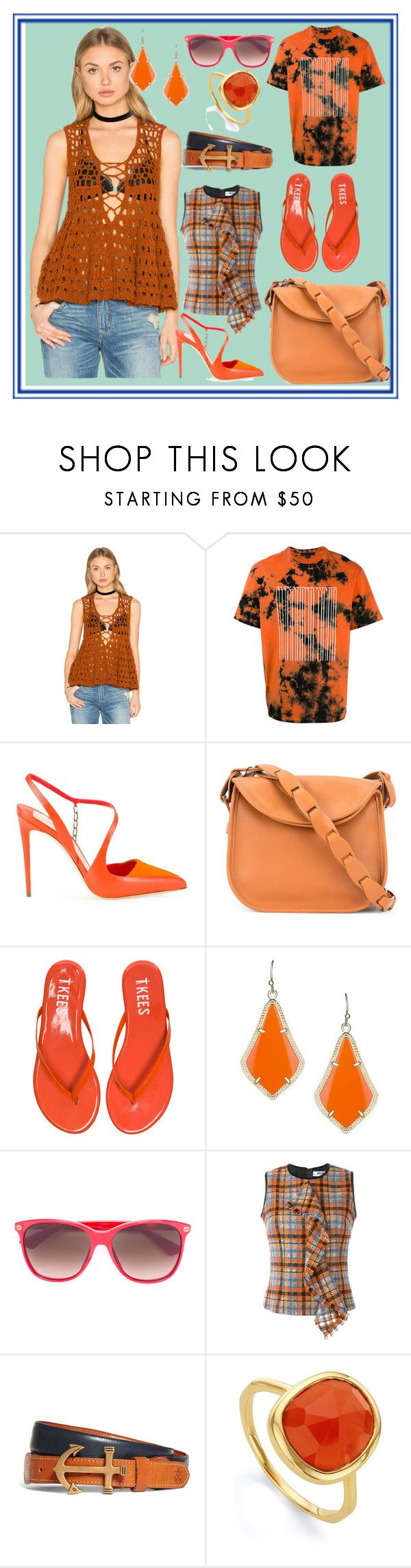 """""""Orange Country"""" by cate-jennifer ❤ liked on Polyvore featuring Free People, Alexander Wang, Olgana, 10 Crosby Derek Lam, Tkees, Kendra Scott, Gucci, MSGM, Brooks Brothers and Monica Vinader"""