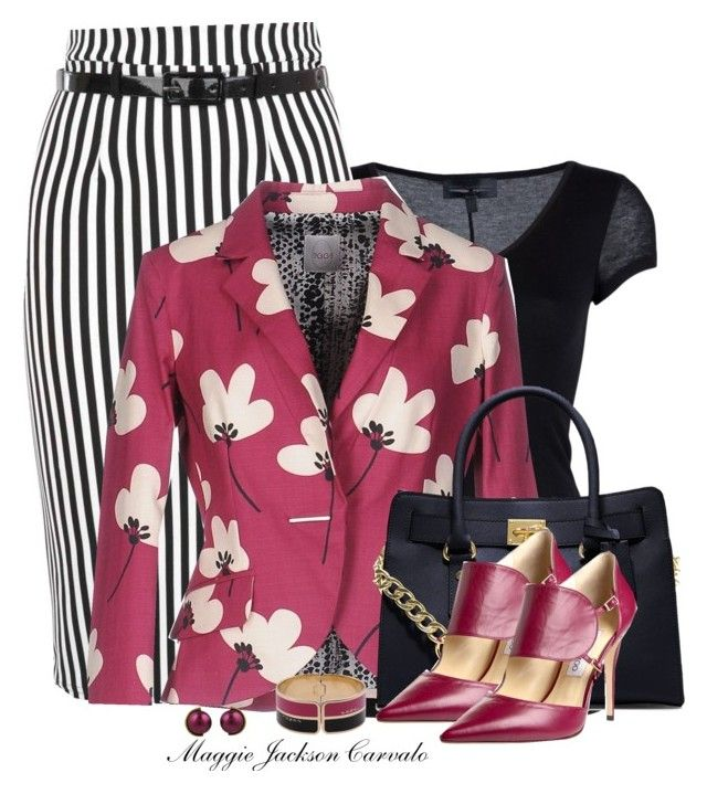 """Floral Blazer"" by maggie-jackson-carvalho ❤ liked on Polyvore featuring Diesel Black Gold, Eggs, MICHAEL Michael Kors, Fendi, Jimmy Choo and Lanvin"