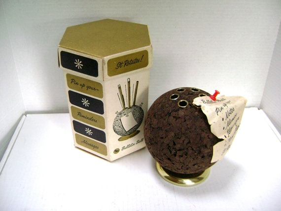 Cork Bulletin Ball MidCentury Desk Accessory Pen by junquegypsy, $24.90