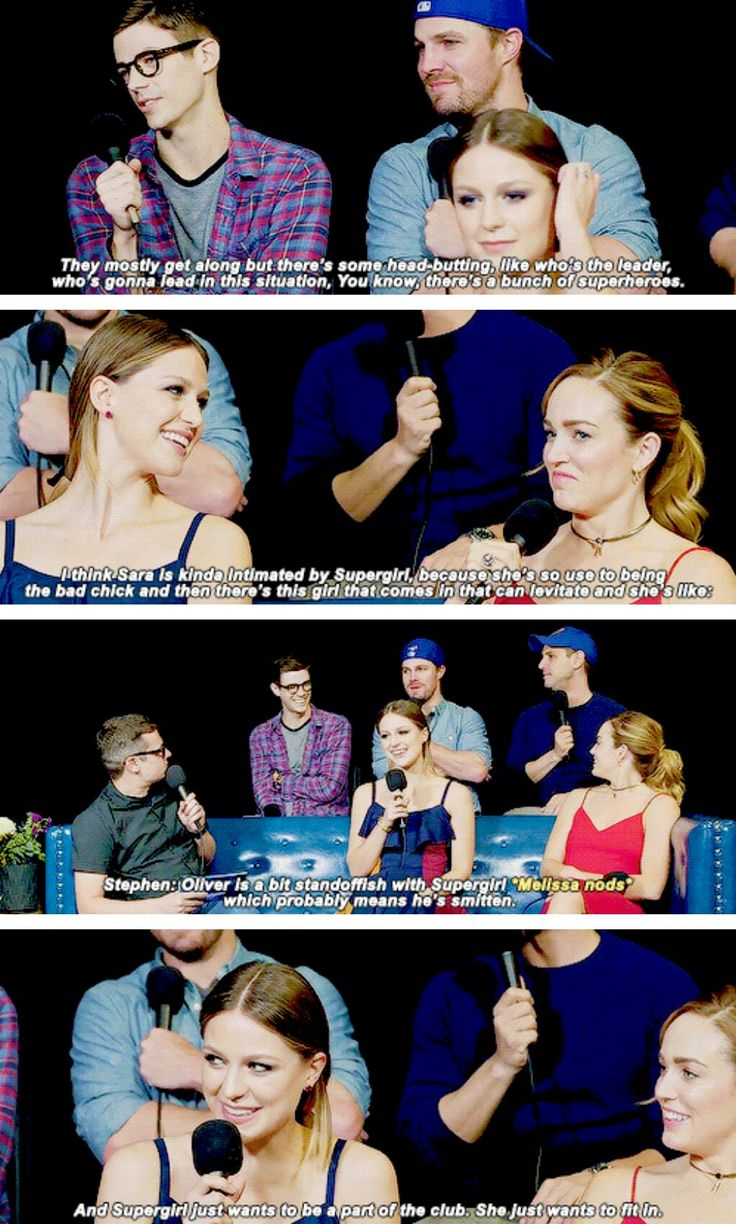 """""""As Actors, you get along but how about your characters, How do they get along during the crossover?"""" #Supergirl #Arrow #TheFlash #LegendsofTomorrow"""