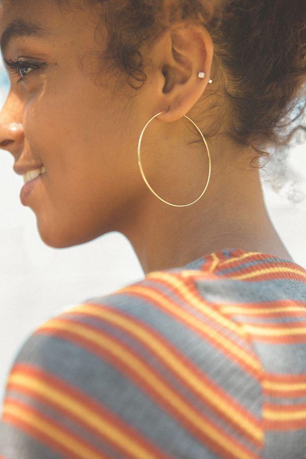 cc0232d48 Slide View: 1: 18k Gold + Sterling Silver Plated Basic Hoop Earring