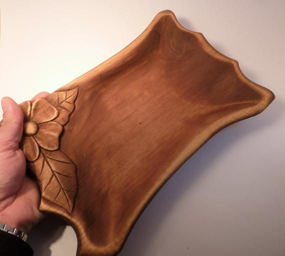 Bandeja fuente plato para servir aperitivos alimentos tallado a mano madera regalo mama