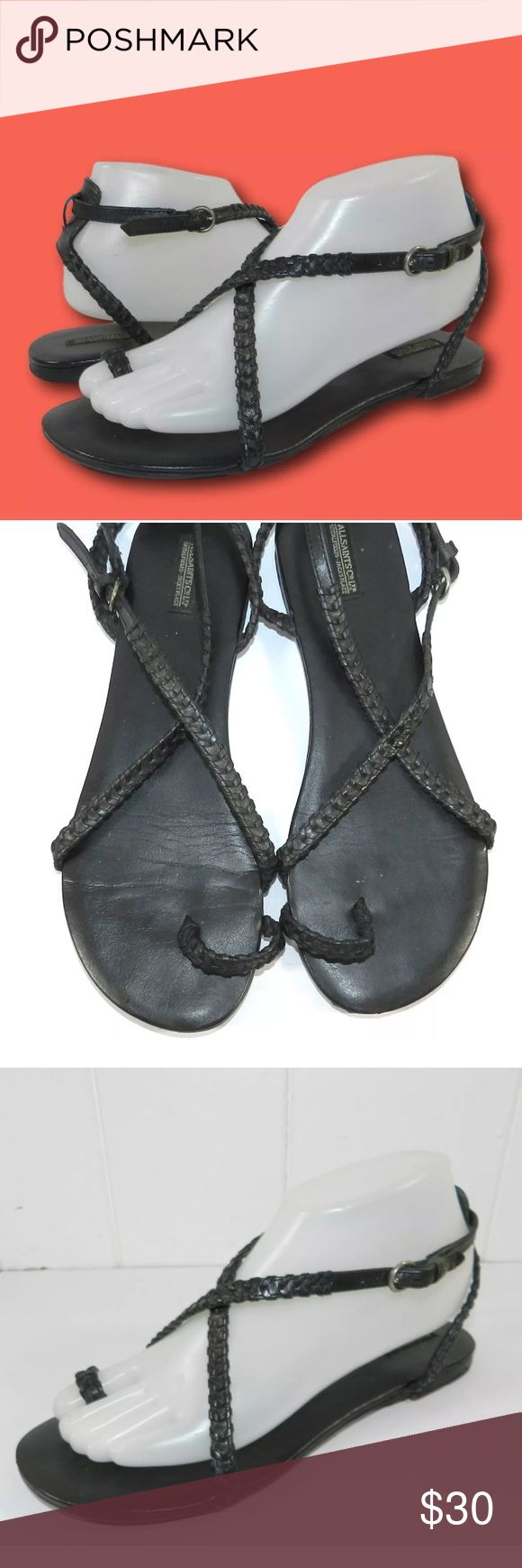 """ALLSAINTS Black Braided Leather Sandals This ankle strap sandal by AllSaints features a braided leather design and a flat heel.     Leather upper / Leather soles.   Sz 39 / US 8-8.5.  Bottom of soles measure approx. 10"""" long and 3 5/8"""" wide at widest part.   Some scratches/wear to footbed and wear to soles apparent.  Please see all photos for further indication of wear and condition. All Saints Shoes Sandals"""