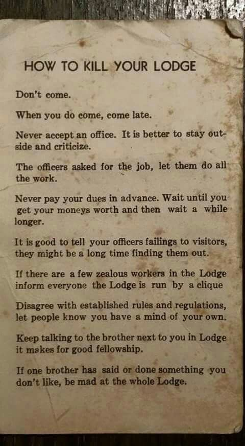 """How to kill a masonic lodge"""