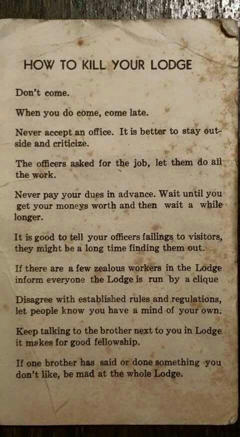 """""""How to kill a masonic lodge"""""""