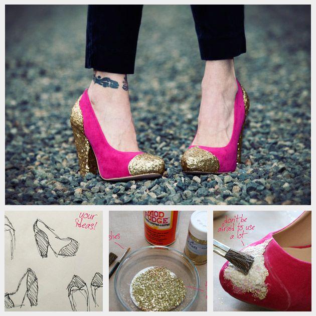 twinkle toes    DIY Glitter Shoes: Diy Ideas, Glitter When, Diy Fashion, Glitter Shoes, Diyfashion, Diy Glitter, Glitter Heels, Glitter Pumps, Diy Projects