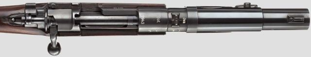 Sturmkampfgewehr or StKG Break-action, shortened Karabiner 98k 26,5mm grenade laucher, first thought up in late-WW2 Nazi Germany, possibly 1943.Kind of an upgrade to the flare gun based Sturmpistole, this smoothbore carbine was designed to fire the same Wurfkörper 326 LP and and 326 LP n.A. grenades (LP stands for Leuchtpistole/flare gun) and thus fill a light anti-tank purpose in the urban warfare of 1944/45.