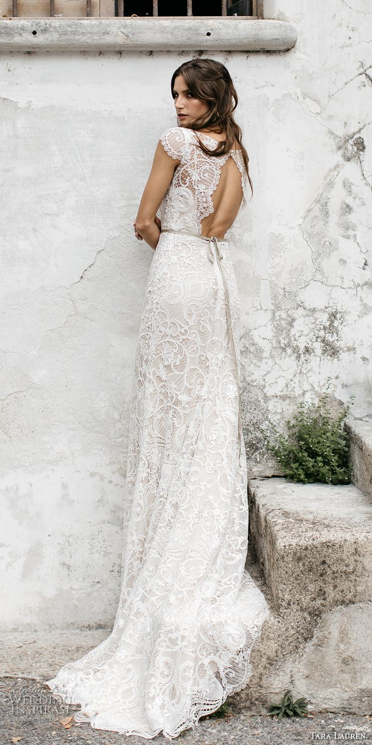 tara lauren spring 2017 bridal cap sleeves bateau neckline full embroidered elegant lace trumpet sheath wedding dress keyhole back chapel short train (chiara) bv
