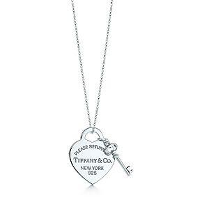 Piastrina a cuore media con pendente chiave Return to Tiffany™, in argento.