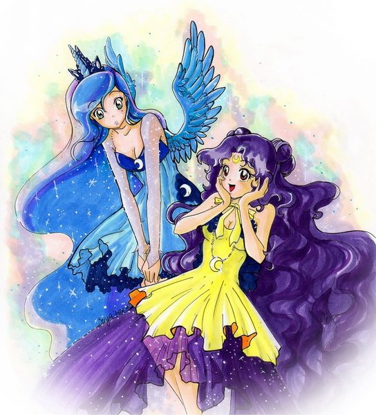 #949048 - artist:seiyachan, crossover, horned humanization, humanized, luna (sailor moon), princess luna, safe, sailor moon, traditional art, winged humanization - Derpibooru - My Little Pony: Friendship is Magic Imageboard