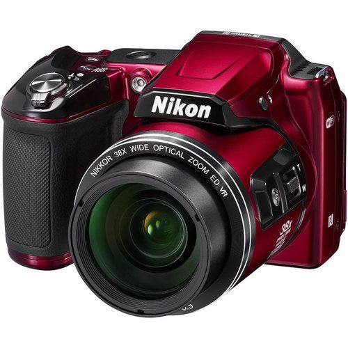 Nikon COOLPIX L840 16MP Digital Camera with 38x Zoom VR Lens - Red Refurbished Bundle