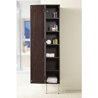 Zarina Walnut 6-shelf Wall-mounted Bathroom Tower Cabinet | Overstock.com Shopping - The Best Deals on Bathroom Cabinets