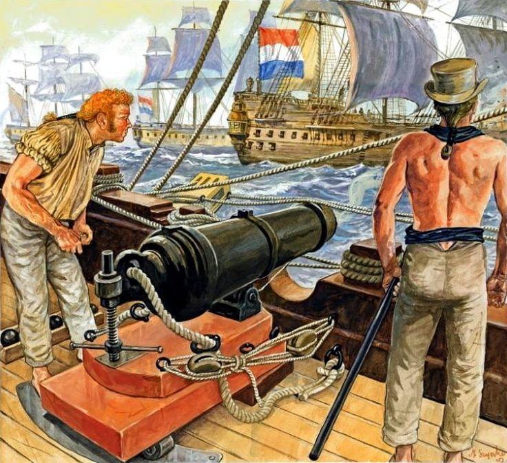 La carronada era un cañón ligero y maniobrable situado en la cubierta  superior de los navíos. Lo montaba sobre todo la marina inglesa y barría con metralla la cubierta de los barcos enemigos. Navíos de línea del siglo XVIII