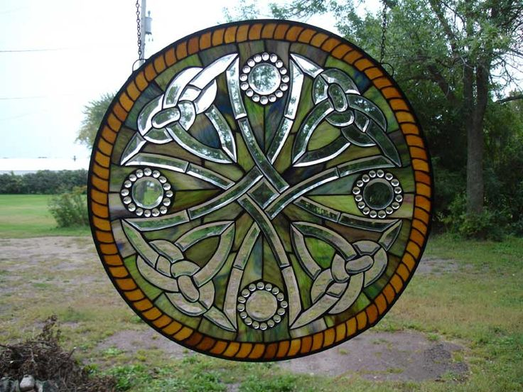 Celtic Cowboy Cross Round Stained Glass Window | Stained ...