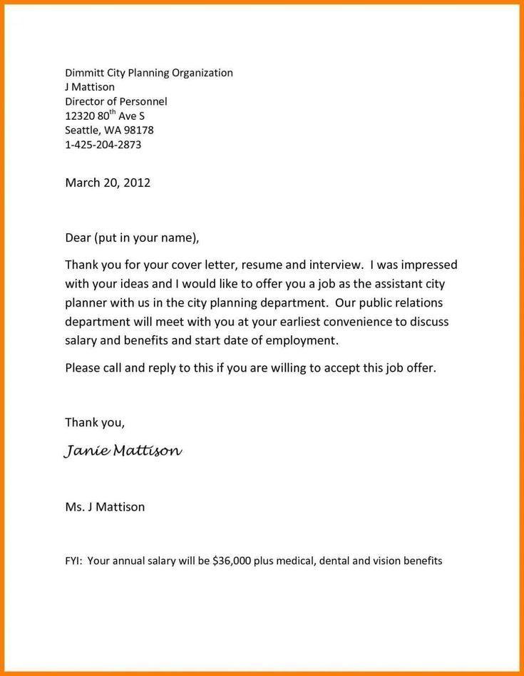 inspirational job offer letter sample from employer