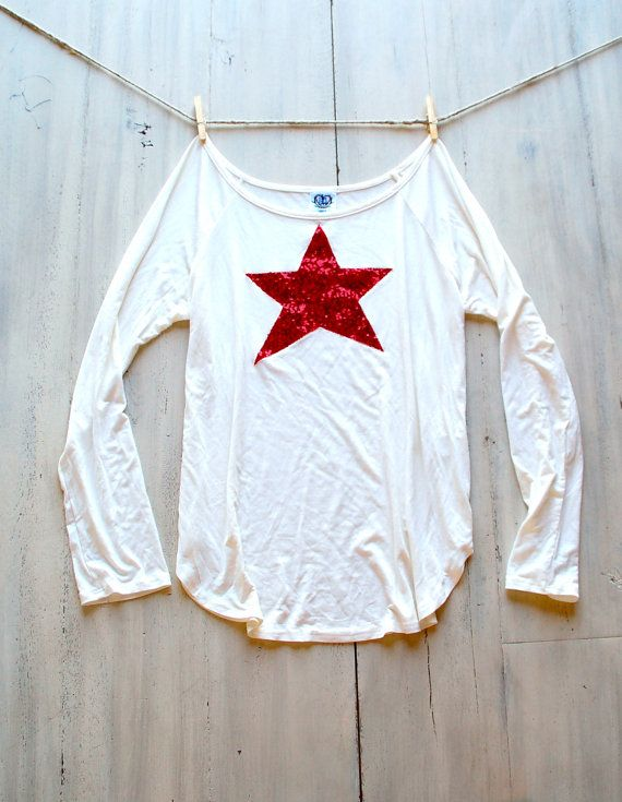 4th of July Shirt Sequin Star Patch Dazzle Patch Slouchy Pullover T Shirt in Ivory w Red Star Sequin Patch Womens Fourth of July Fashion USA