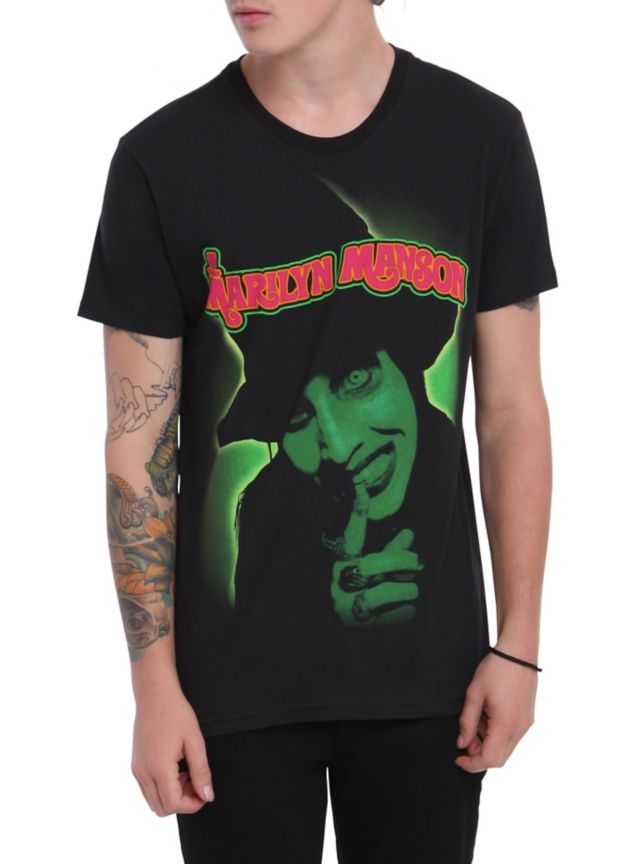 Black T-shirt from Marilyn Manson with Smells Like Children inspired design on front.