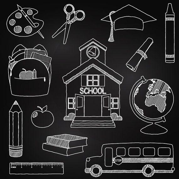 Chalkboard School Clipart Clip Art, Chalk Board Teacher Clipart Clip Art Vectors - Commercial and Personal Use on etsy - Pink Pueblo
