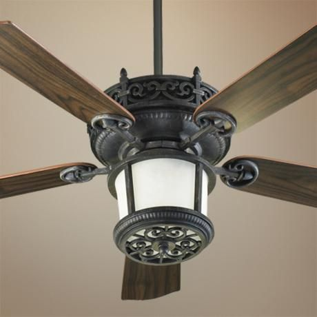 Nice Maybe A Little Too Ornate? But I Like The Dark Wood And Black Wrought Iron    Quorum Marbella Charcoal Finish Ceiling Fan