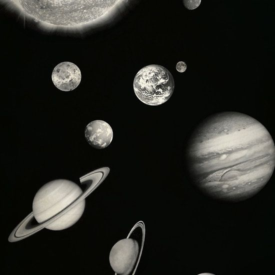 Black and White Solar System | Sticker