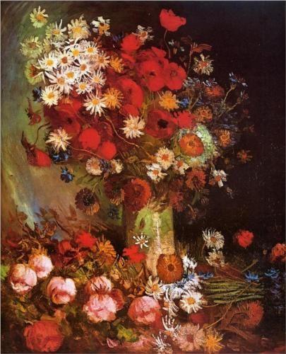 Vase with Poppies, Cornflowers, Peonies and Chrysanthemums  - Vincent van Gogh
