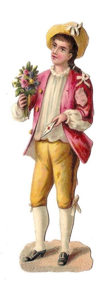 Un Jeune Homme - Lettre Bouquet de Fleurs - - Chromo Decoupi  - Victorian Scrap