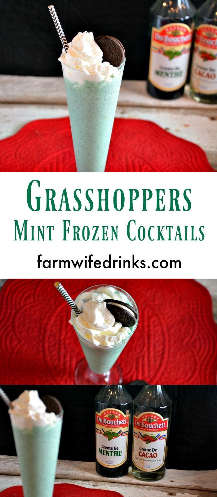 Grasshoppers are a chocolate mint frozen mixed drink that is perfect for a holiday dessert or after dinner drink.