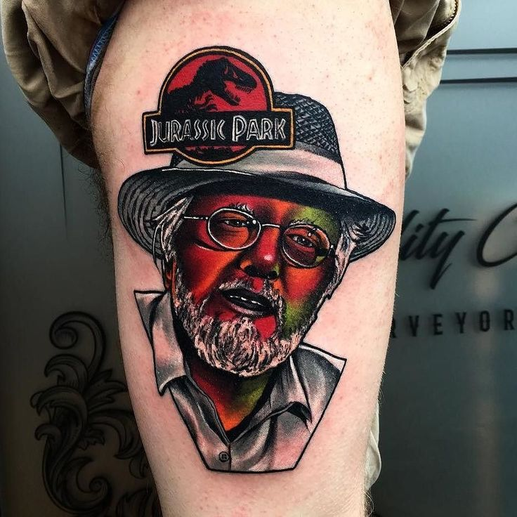 Welcome To Jurassic Park by @littleandytattoo at @thechurchtattoo in Birmingham, United Kingdom. #welcometojurassicpark #jurassicpark #johnhammond #dinosaur #littleandytattoo #thechurchtattoo...