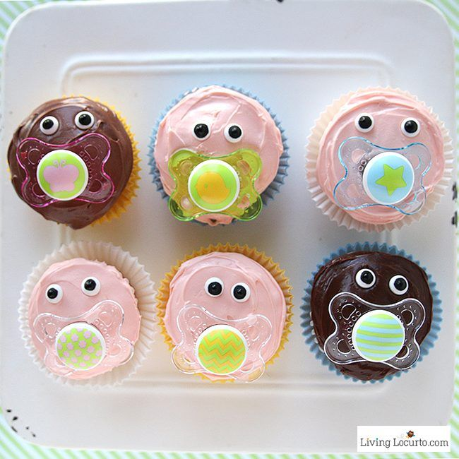 Baby Shower Party Ideas and how to make adorable Baby Pacifier Cupcakes. LivingLocurto.com