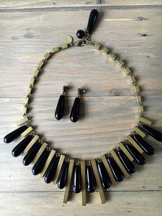 Black Nefertari set  short necklace and earrings  by RafaPeinador