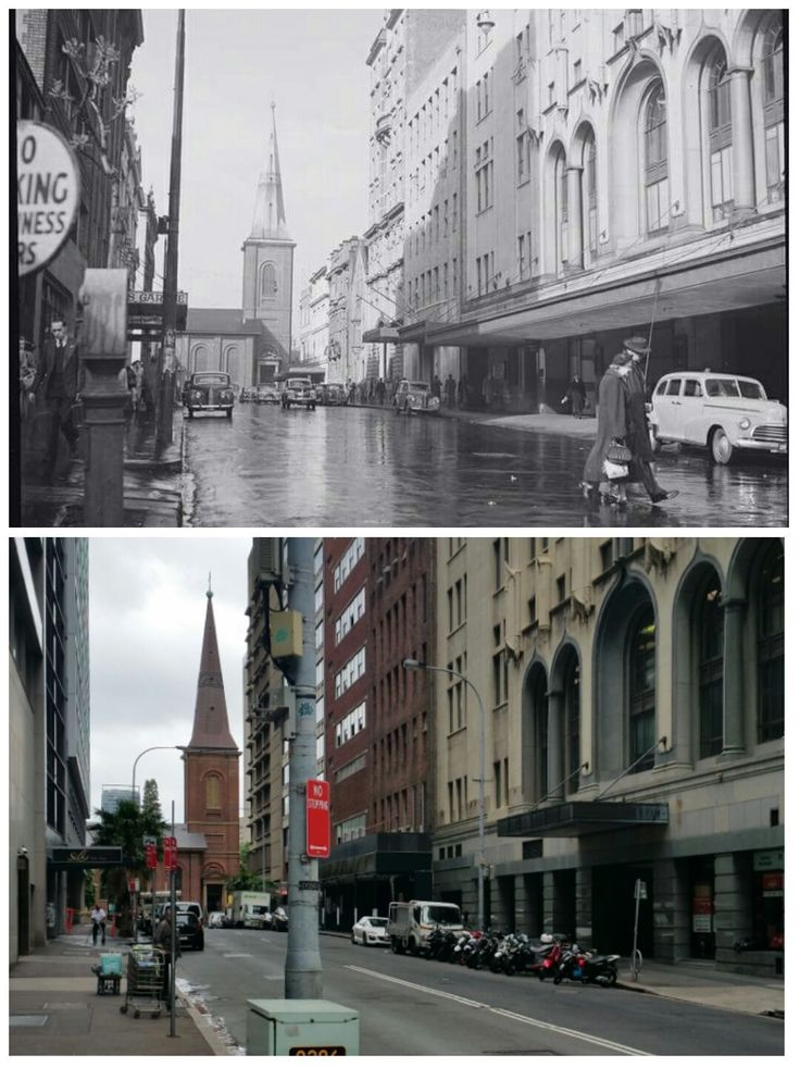 Looking south along Phillip Street towards King Street from Martin Place, Sydney with the St James Anglican Church a prominent landmark c1940s > 2016 [State Library of NSW > Allan Hawley. By Allan Hawley]