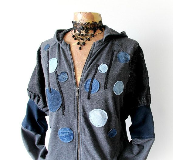 Grey Hipster Hoodie Up Cycled Jacket Polka by BrokenGhostClothing