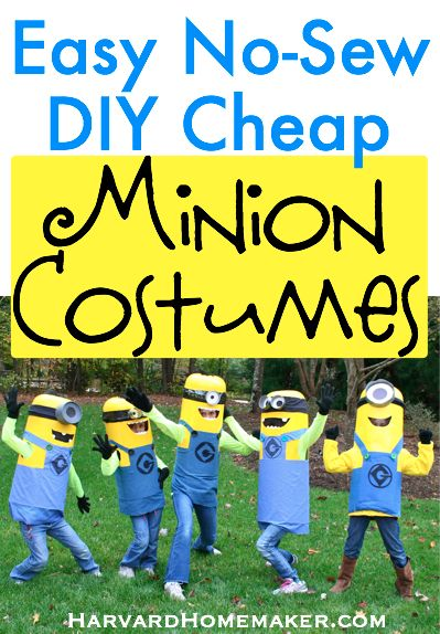 No Sew Easy DIY Cheap Minion Costumes by Harvard Homemaker. Hang on to this pin for this fall! How fun for kids to do this with siblings or friends as a group costume! #halloweencostumes #minions #despicableme #DIYcostumes