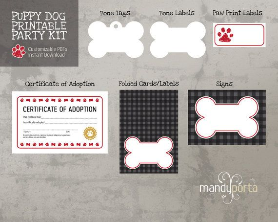 Puppy Dog Printable Birthday Party Kit Food Labels