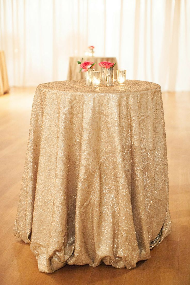 So glamorous! Sparkly gold floor length tablecloth for cocktail tables