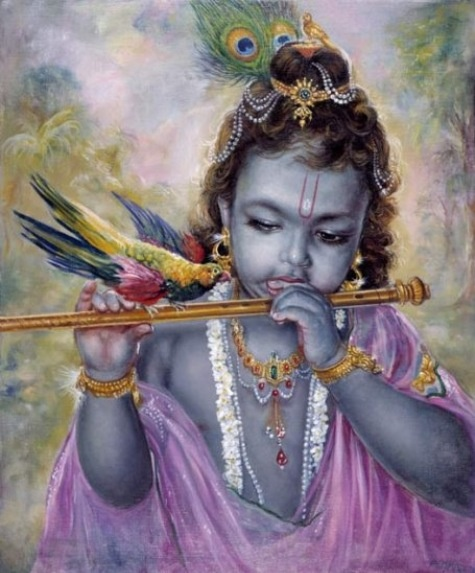 Krishna with parrot & flute. Painting by Pushkar das.