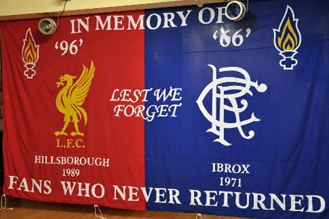Banner from Glasgow Rangers supporters, victims of their own disaster in 1971 losing 66 fans.