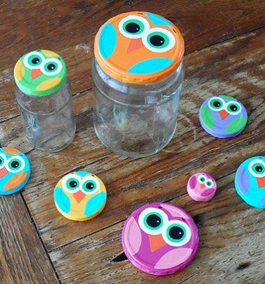 DIY Fun mason jar lid owls - recycling craft for kids // Baglyok befőttes üveg tetőből - kreatív újrahasznosítás // Mindy - craft tutorial collection // #crafts #DIY #craftTutorial #tutorial #UpcyclingCraft  #TinCanCraft #Upcycling #RecyclingCraft