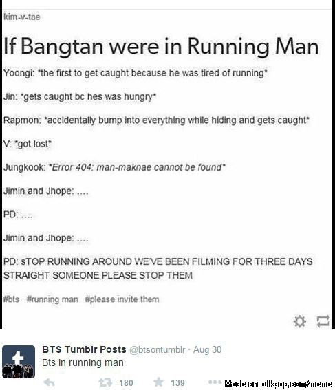 reason why Bangtan cant be on Running Man | allkpop Meme Center