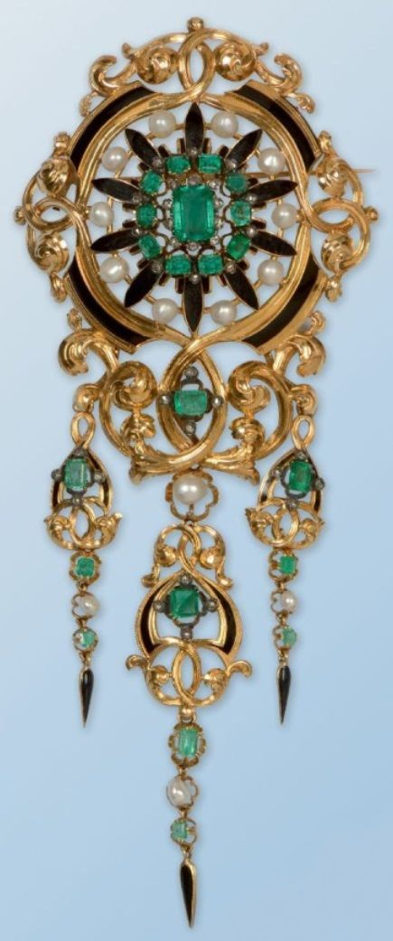 An important antique gold, enamel, diamond, emerald and pearl brooch, French, 19th century. 15.5 x 6 cm. #antique #brooch