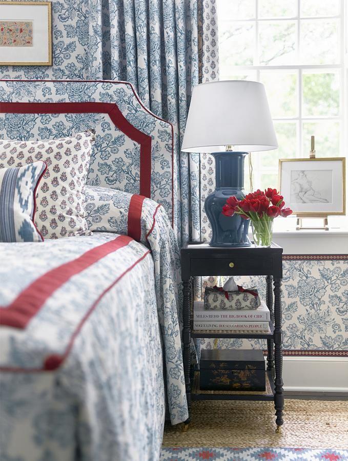 sarah bartholomew.  blue & white, red.  bedroom.