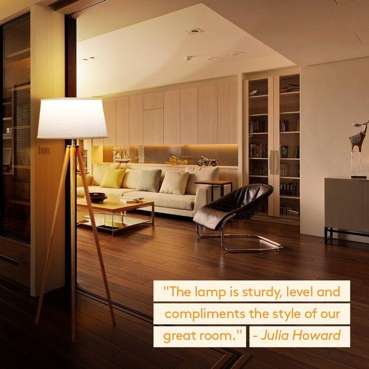 Brightech Emma Led Tripod Floor Lamp Modern Design Wood Mid Century Style Lighting For Contempo Floor Lamps Living Room Tripod Floor Lamps Coastal Floor Lamps