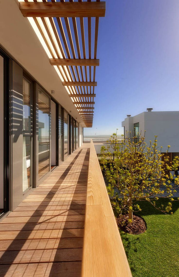 Wonderful Modern Residence Ideas by COA: Fabulous Wooden Pergola In The Big Bay Residence Exterior With Wooden Terrace And Wide Glass Walls