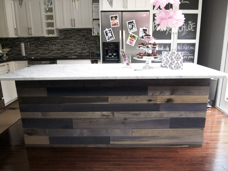 DIY'ed kitchen island using reclaimed materials. To see ...