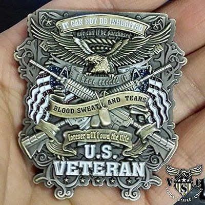 US Military Veteran Forever Will I Own The Title Challenge Coin Double Sided 2""