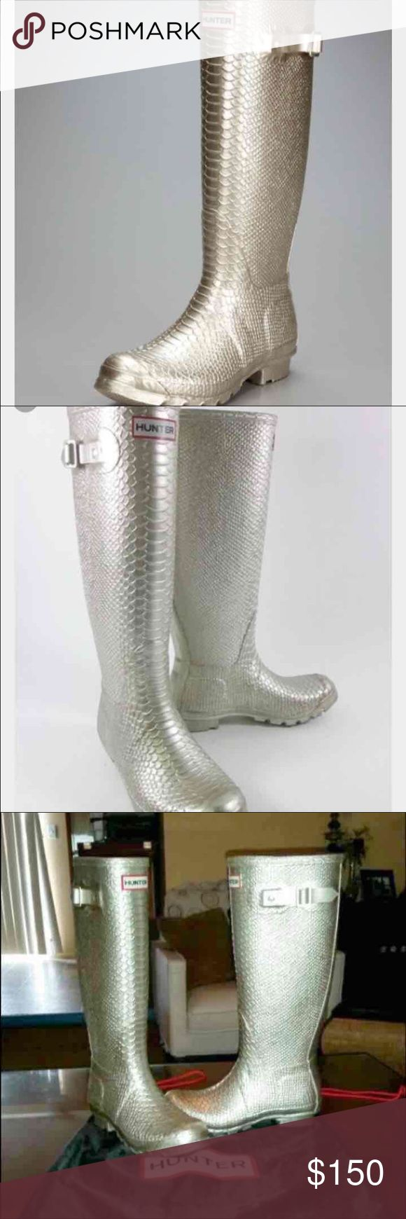 Hunter limited edition boa welly boots! Very rare! Only tried, size 6/7. Silver Hunter Boots Shoes Winter & Rain Boots